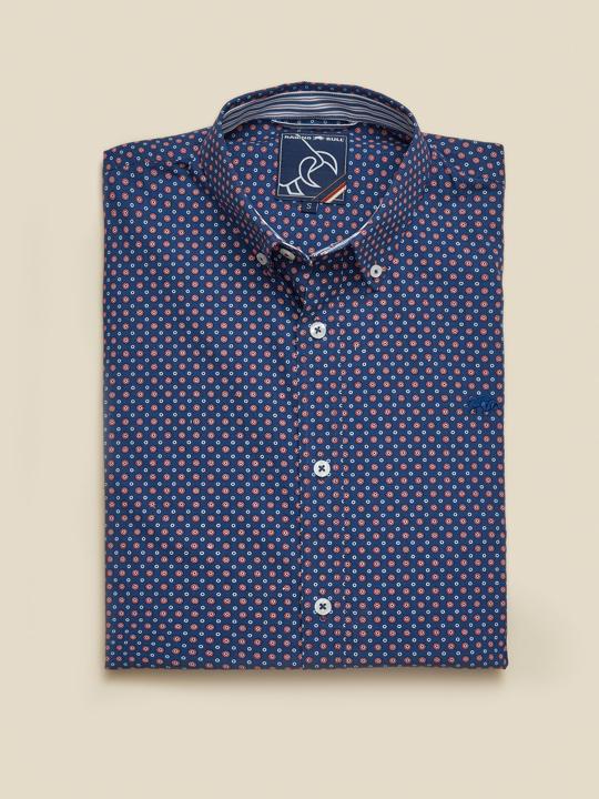 Raging Bull Big & Tall Long Sleeve Multi Circle Print Shirt - Navy